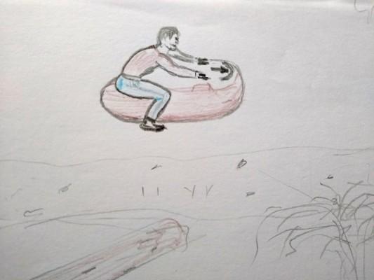 Riding on a speeder
