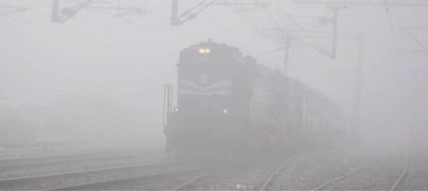Fog around the railway.